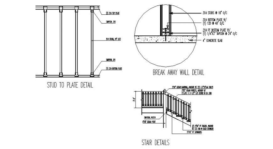 Staircase Section Break Away Wall And Construction Details Dwg File Cadbull