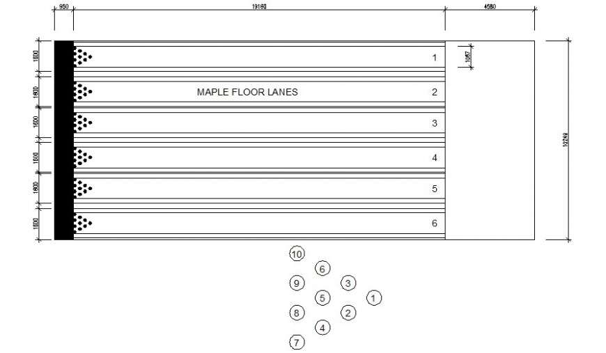 Ten Pin Bowling Details Plan 2d Drawing In Autocad Cadbull