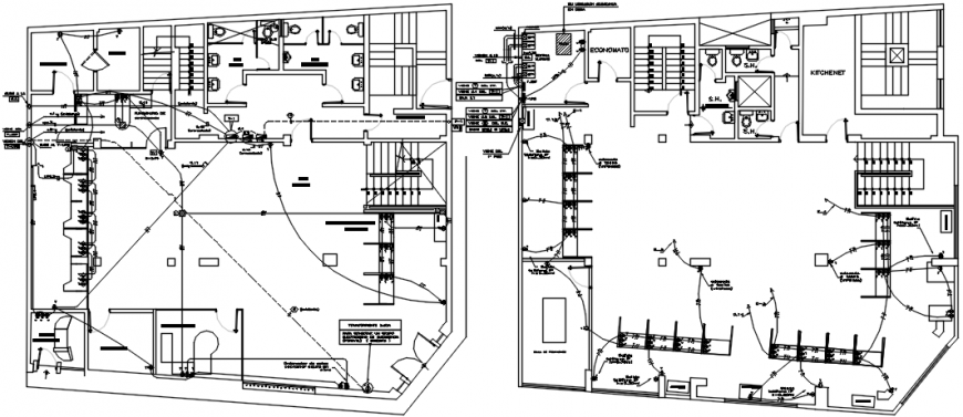 Two floors electrical installation layout plan with diagram details for  villa dwg file - CadbullCadbull