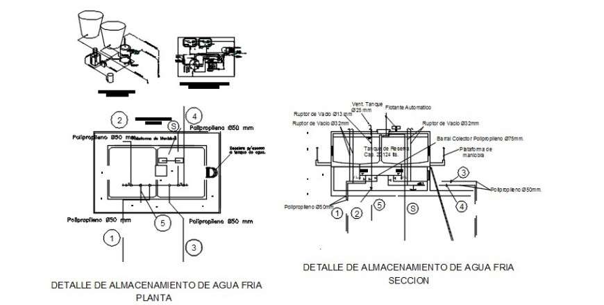 Water Tank And Pump Room Sections  Plan And Plumbing Structure Drawing Details Dwg File