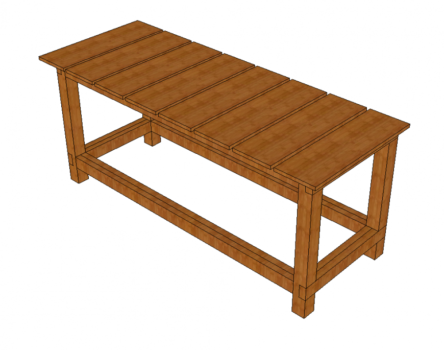 Wooden working bench detail elevation 3d model layout dwg ...